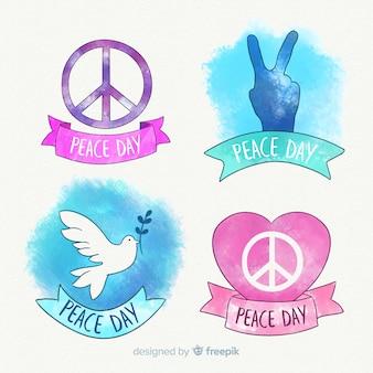 Collection d'étiquettes du jour de la paix à l'aquarelle