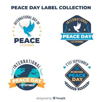 Collection d'étiquettes du jour de la paix moderne