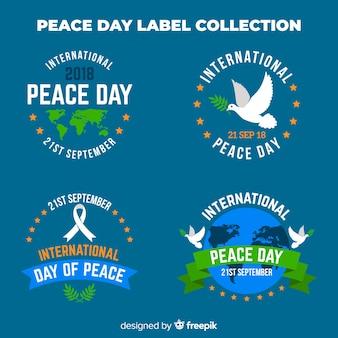 Collection d'étiquettes du jour de la paix rond