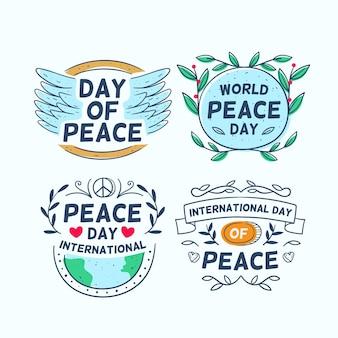 Collection d'étiquettes du jour de la paix