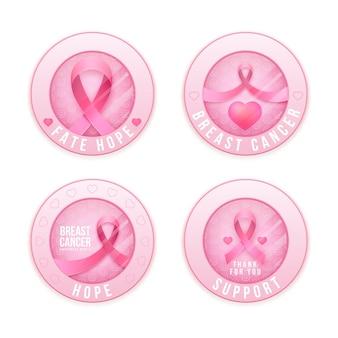 Collection d'étiquettes du mois de sensibilisation au cancer du sein