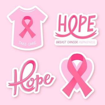 Collection d'étiquettes du mois de sensibilisation au cancer