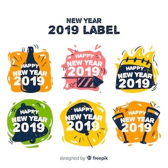 Collection d'étiquettes du nouvel an 2019