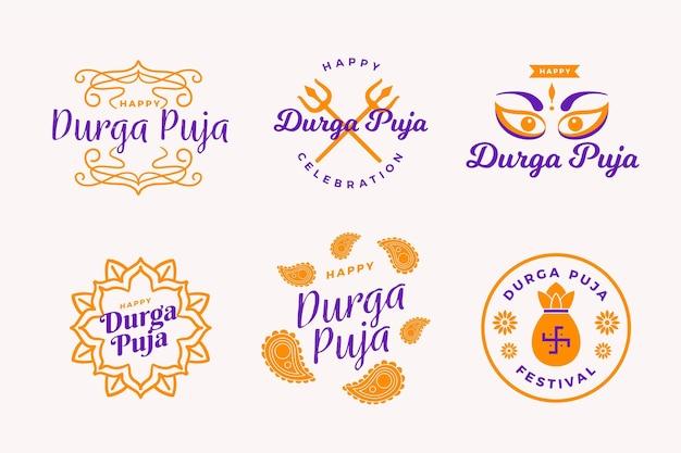 Collection d'étiquettes durga-puja