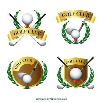 Collection d'étiquettes élégantes de golf d'or