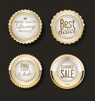 Collection d'étiquettes d'éléments de design doré de luxe