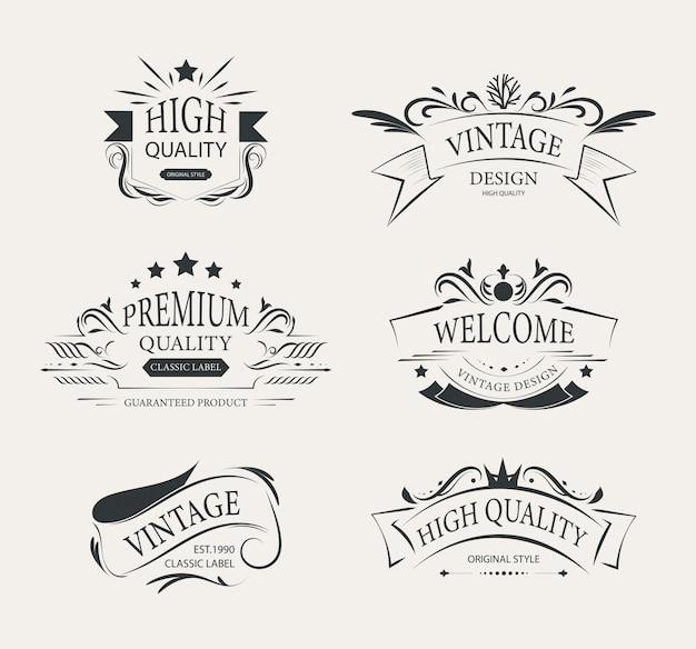 Collection d'étiquettes d'éléments vintage décoration de luxe.