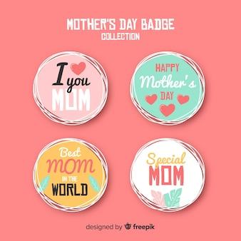 Collection d'étiquettes entourées de la fête des mères