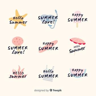 Collection d'étiquettes estivales dessinées à la main