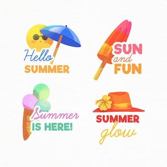 Collection d'étiquettes d'été aquarelle