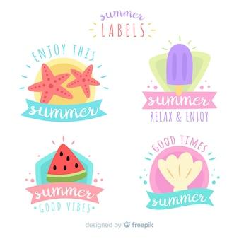Collection d'étiquettes d'été plat