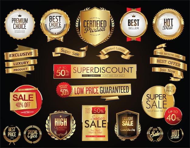 Collection d'étiquettes et d'étiquettes de badges dorés