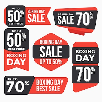 Collection d'étiquettes d'étiquettes de vente de boxing day