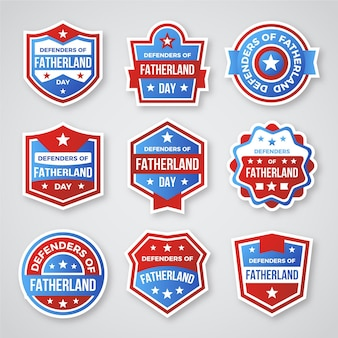 Collection d'étiquettes de fête des défenseurs de la patrie