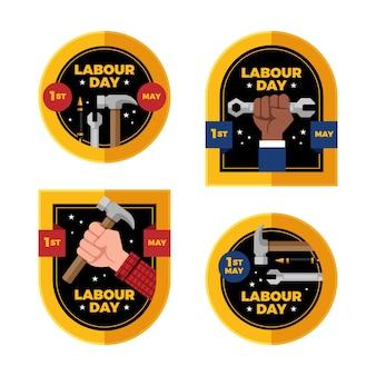 Collection d'étiquettes de la fête du travail au design plat