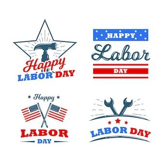 Collection d'étiquettes de la fête du travail aux états-unis