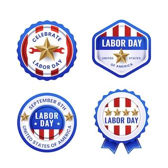 Collection d'étiquettes de fête du travail en dégradé