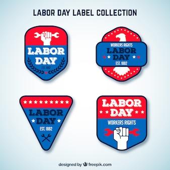 Collection d'étiquettes de fête du travail avec un design plat