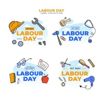 Collection d'étiquettes de fête du travail dessinés à la main