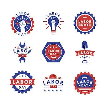 Collection d'étiquettes de fête du travail plat usa