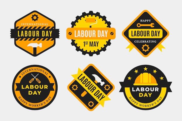 Collection d'étiquettes de fête du travail plat