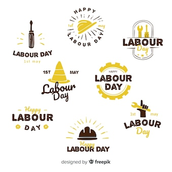 Collection d'étiquettes de la fête du travail