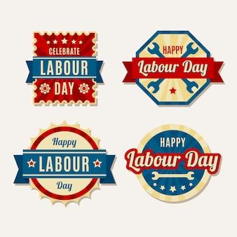 Collection d'étiquettes de fête du travail