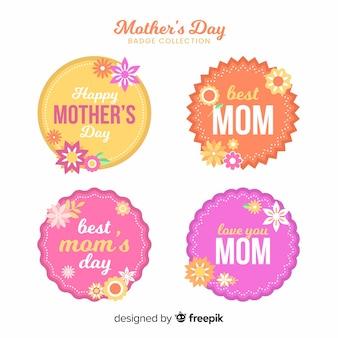 Collection d'étiquettes de fête des mères cercles plats