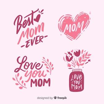 Collection d'étiquettes de fête des mères dessinée à la main
