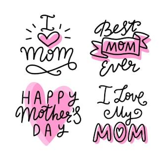 Collection d'étiquettes de fête des mères dessinés à la main