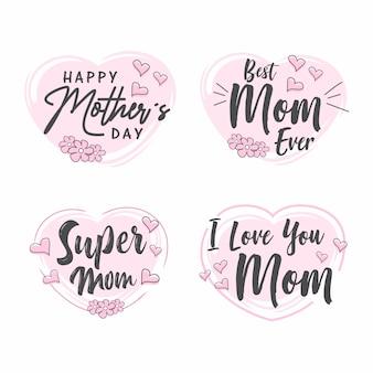 Collection d'étiquettes fête des mères