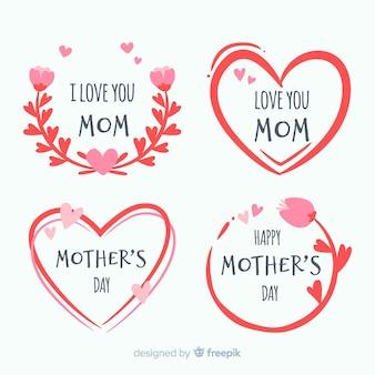 Collection d'étiquettes de la fête des mères