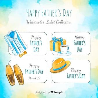 Collection d'étiquettes de fête des pères aquarelle