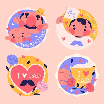 Collection d'étiquettes de fête des pères dessinés à la main