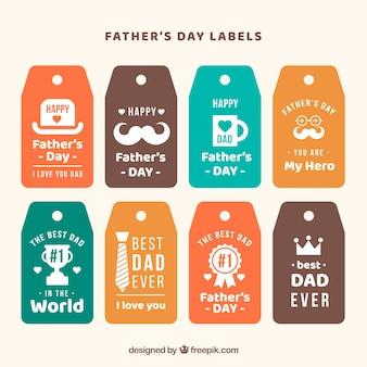 Collection d'étiquettes fête des pères avec différents éléments