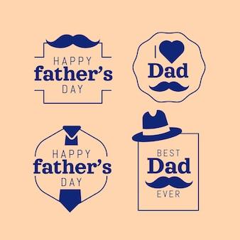 Collection d'étiquettes de fête des pères plate