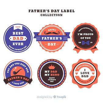 Collection d'étiquettes de fête des pères vintage