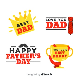 Collection d'étiquettes de fête des pères