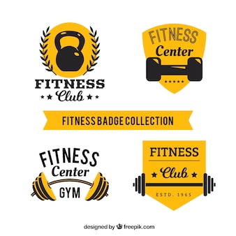 Collection d'étiquettes de fitness jaune