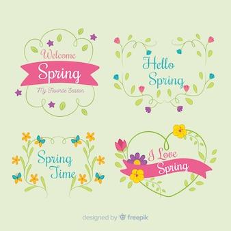 Collection d'étiquettes florales de printemps dessinés à la main