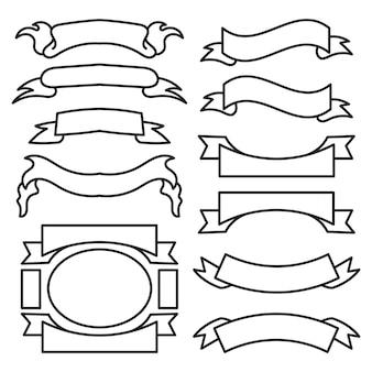 Collection d'étiquettes de forme de bannière vierge