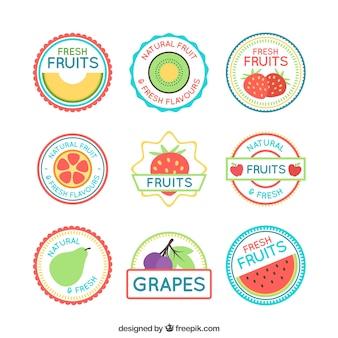 Collection d'étiquettes de fruits en conception plate