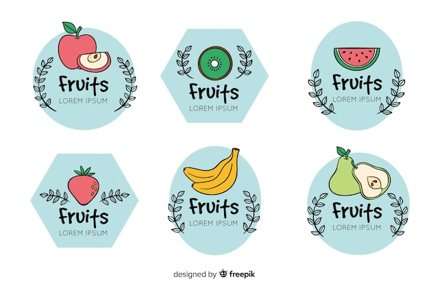 Collection d'étiquettes de fruits dessinés à la main