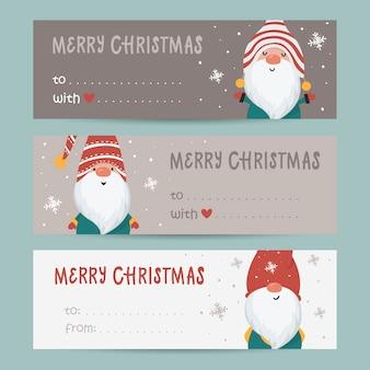 Collection d'étiquettes avec des gnomes et des souhaits de vacances. modèles de cartes imprimables.