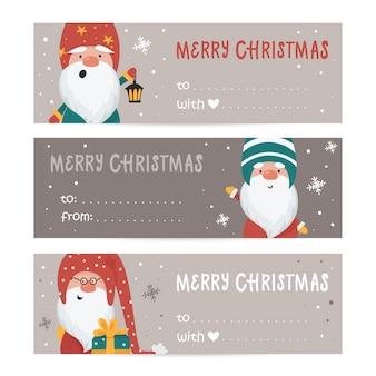 Collection d'étiquettes avec des gnomes et des souhaits de vacances.