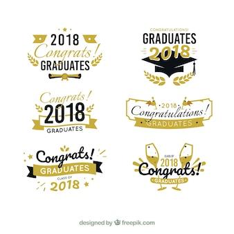 Collection d'étiquettes de graduation moderne avec un design plat