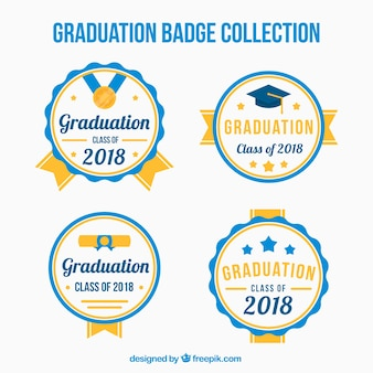 Collection d'étiquettes de graduation de pack avec un design plat