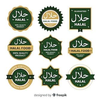 Collection d'étiquettes halal vertes avec un design plat