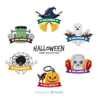 Collection d'étiquettes halloween au design plat