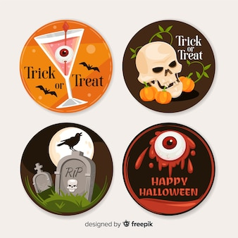 Collection d'étiquettes halloween au design plat